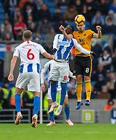 Brighton &amp; Hove Albion's Yves Bissouma (left) battles with Wolverhampton Wanderers' Ruben Neves (right) <br /> <br /> Photographer David Horton/CameraSport<br /> <br /> The Premier League - Brighton and Hove Albion v Wolverhampton Wanderers - Saturday 27th October 2018 - The Amex Stadium - Brighton<br /> <br /> World Copyright &copy; 2018 CameraSport. All rights reserved. 43 Linden Ave. Countesthorpe. Leicester. England. LE8 5PG - Tel: +44 (0) 116 277 4147 - admin@camerasport.com - www.camerasport.com