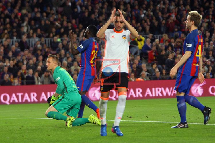 League Santander 2016/2017. Game: 28.<br /> FC Barcelona vs Valencia CF: 4-2.<br /> Munir.