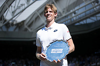 Kevin Anderson (RSA) with the Runners Up Trophy after losing the Gentlemen's Singles Final to Novak Djokovic (SRB)