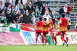 S&ouml;dert&auml;lje 2014-05-18 Fotboll Superettan Syrianska FC - Hammarby IF :  <br /> Syrianskas Charbel George har gjort 1-0 och jublar med lagkamrater framf&ouml;r Hammarby supportrar som sl&auml;nger &ouml;l p&aring; Syrianska spelare<br /> (Foto: Kenta J&ouml;nsson) Nyckelord:  Syrianska SFC S&ouml;dert&auml;lje Fotbollsarena Hammarby HIF Bajen jubel gl&auml;dje lycka glad happy supporter fans publik supporters