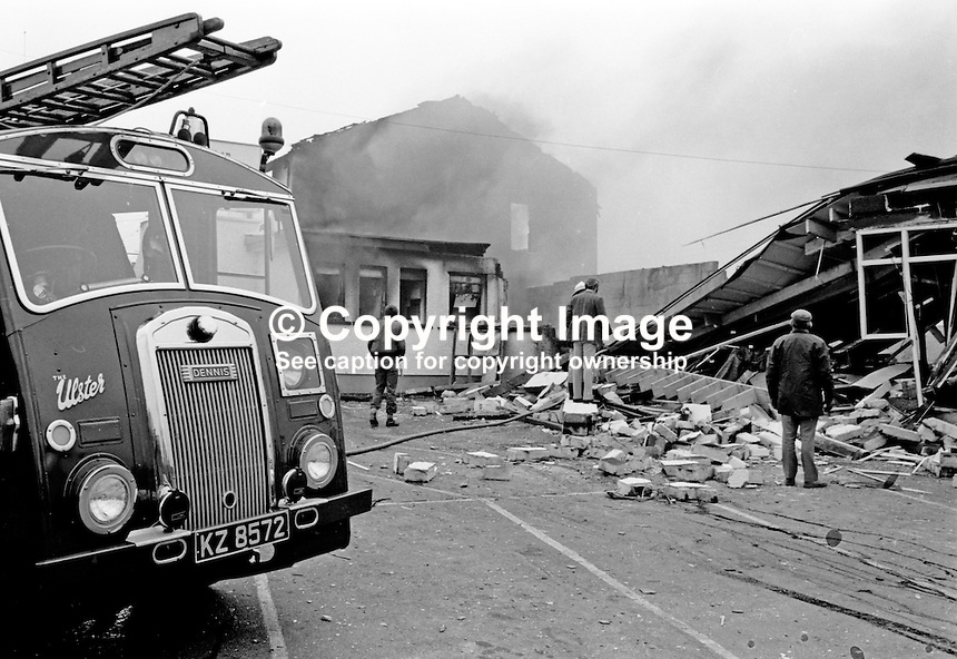Golden Pheasant Inn, Lisburn, Co Antrim, N Ireland, explosions in which the owners, two brothers, Anthony O'Reilly, 43 years, & Myles O'Reilly, 41 years, died. Two bomb were planted by three UVF, Ulster Volunteer Force, members. Three men were subsequently tried and convicted.  The O'Reilly brother the Ardoyne area of North Belfast, were close friends of future Irish president Mary McAleese who had originally planned to hold her wedding reception at the Golden Pheasant on the day of the explosions. When the guest list grew they were obliged to move it to the then Ardmore Hotel in Newry. 197603090134a...Copyright Image from Victor Patterson, 54 Dorchester Park, Belfast, UK, BT9 6RJ..Tel: +44 28 9066 1296.Mob: +44 7802 353836.Voicemail +44 20 8816 7153.Skype: victorpattersonbelfast.Email: victorpatterson@me.com.Email: victorpatterson@ireland.com (back-up)..IMPORTANT: If you wish to use this image or any other of my images please go to www.victorpatterson.com and click on the Terms & Conditions. Then contact me by email or phone with the reference number(s) of the image(s) concerned.