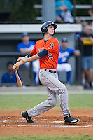 Kyle Tucker (9) of the Greeneville Astros follows through on his swing against the Burlington Royals at Burlington Athletic Park on August 29, 2015 in Burlington, North Carolina.  The Royals defeated the Astros 3-1. (Brian Westerholt/Four Seam Images)