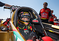 Mar 19, 2017; Gainesville , FL, USA; NHRA top fuel driver Leah Pritchett during the Gatornationals at Gainesville Raceway. Mandatory Credit: Mark J. Rebilas-USA TODAY Sports
