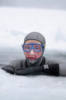 Elisabeth Kristoffersen from Norway. Freediving competition Oslo Ice Challenge at freshwater lake Lutvann outside the Norwegian capital Oslo. Atheletes, including current and former world champions, entered a hole in the ice to compete. The participants reached depths down to 52 meters below the surface.