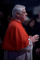 cardinal Gerhard Müller.Pope Francis the ceremony of the Good Friday Passion of the Lord Mass in Saint Peter's Basilica at the Vatican.April 19, 2019