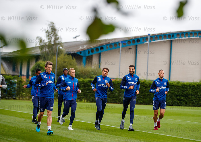 30.08.2019 Rangers training: Ryan Jack, Alfredo Morelos, Joe Aribo, Scott Arfield, James Tavernier, Connor Goldson and Nikola Katic