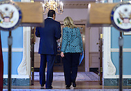 January 11, 2012  (Washington, DC)  U.S. Secretary of State Hillary Rodham Clinton and Qatari Foreign Minister Sheikh Hamad bin Jassim bin Jabor Al Thani leave the Treaty Room at the State Department in Washington after meeting with the press.  (Photo by Don Baxter/Media Images International)