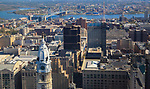 Aerial view of the  Philadelphia Skyline facing east towards Camden New Jerseey