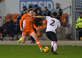 04/12/2018 FA Youth Cup 3rd Round Blackpool v Derby County<br /> <br /> Nathan Shaw challenges Callum Minkley