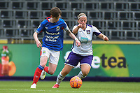 20190813 - ANDERLECHT, BELGIUM : Anderlecht's Jana Coryn (R) and Linfield's Kirsty McGuinness (L) pictured during the female soccer game between the Belgian RSCA Ladies – Royal Sporting Club Anderlecht Dames  and the Northern Irish Linfield ladies FC , the third and final game for both teams in the Uefa Womens Champions League Qualifying round in group 8 , Tuesday 13 th August 2019 at the Lotto Park Stadium in Anderlecht  , Belgium  .  PHOTO SPORTPIX.BE   DIRK VUYLSTEKE