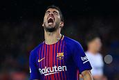 4th November 2017, Camp Nou, Barcelona, Spain; La Liga football, Barcelona versus Sevilla; Luis Suarez of FC Barcelona shows his frustration