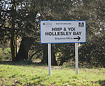 Sign for Hollesley Bay prison, Suffolk, England