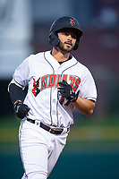 Indianapolis Indians second baseman Kevin Kramer (17) rounds the bases after hitting a home run during an International League game against the Columbus Clippers on April 29, 2019 at Victory Field in Indianapolis, Indiana. Indianapolis defeated Columbus 5-3. (Zachary Lucy/Four Seam Images)
