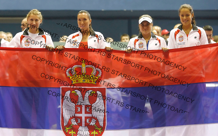 Tenis, Fed Cup, play off world group B.Croatia Vs. Serbia.Ana Ivanovic Vs. Nika Ozegovic.Serbian team celebrate victory, from left, Ana Jovanovic, Jelena Jankovic, Teodora Mircic and Ana Ivanovic.Zagreb, 27.04.2008..Srdjan Stevanovic