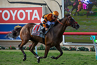 DEL MAR, CA  AUGUST 4: #11 Cambodia, ridden by Drayden Van Dyke, in the stretch of the Yellow Ribbon Handicap (Grade ll) on August 4, 2018 at Del Mar Thoroughbred Club in Del Mar, CA.(Photo by Casey Phillips/Eclipse Sportswire/ Getty Images)