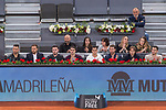 Jan Oblak, Saul Iniguez of Atletico de Madrid and Lucas Vazquez Sergio Ramos, Luka Modric and Mateo Kovacic of Real Madrid during the Mutua Madrid Open Tennis 2017 at Caja Magica in Madrid, May 12, 2017. Spain.