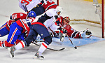 13 December 2008: Montreal Canadiens' goaltender Jaroslav Halak from the Slovak Republic makes a first period save against the Washington Capitals at the Bell Centre in Montreal, Quebec, Canada. ***** Editorial Sales Only ***** Mandatory Photo Credit: Ed Wolfstein Photo