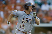 Arizona State Sun Devil designated hitter Joey DeMichele #18 runs against the Texas Longhorns in NCAA Tournament Super Regional Game #3 on June 12, 2011 at Disch Falk Field in Austin, Texas. (Photo by Andrew Woolley / Four Seam Images)