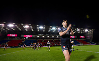 Picture by Allan McKenzie/SWpix.com - 26/04/2018 - Rugby League - Betfred Super League - Salford Red Devils v St Helens - AJ Bell Stadium, Salford, England - St Helens's Jon Wilkin leads the team in thanking the fans for their support after victory over Salford.