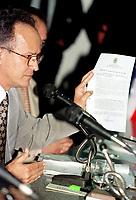 Ex superintendente da Sudam José Arthur Guedes Tourinho presta depoimento a assembléia legislativa do Pará sobre a possível transferência da implantação do projeto Salobo( projeto de beneficiamento de cobre da CVRD) para Bahia<br />07/04/1999.<br />Foto Wagner Bill/Interfoto