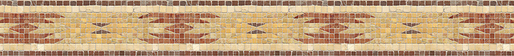 "4 1/2"" Cheyenne border, a hand-cut stone mosaic, shown in tumbled Aegean Brown, Rosa Verona, Renaissance Bronze, Giallo Reale, and Persian Gold."