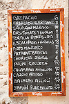 Restaurant menu sign, Arta, Mallorca