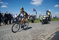 race leader Matt Brammeier (IRL/MTN-Qhubeka) over the Holleweg cobbles<br /> <br /> 99th Ronde van Vlaanderen 2015
