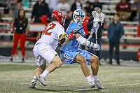 College Park, MD - April 27, 2019: Maryland Terrapins defender Curtis Corley (42) pushes John Hopkins Bluejays attack Cole Williams (14) during the game between John Hopkins and Maryland at  Capital One Field at Maryland Stadium in College Park, MD.  (Photo by Elliott Brown/Media Images International)