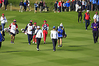 Charley Hull & Azahara Munoz of Team Europe walk down the 7th fairway during Day 1 Foursomes at the Solheim Cup 2019, Gleneagles Golf CLub, Auchterarder, Perthshire, Scotland. 13/09/2019.<br /> Picture Thos Caffrey / Golffile.ie<br /> <br /> All photo usage must carry mandatory copyright credit (© Golffile | Thos Caffrey)