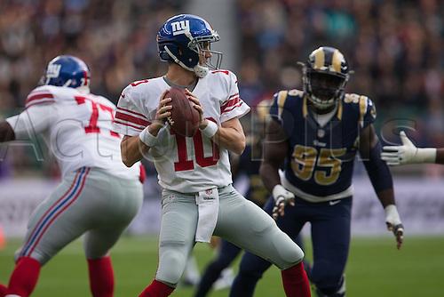 23.10.2016. Twickenham, London, England. NFL International Series. New York Giants versus LA Rams. New York Giants quarterback Eli Manning about to pass the ball.