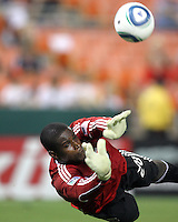Bill Hamid #28 of D.C. United makes a save during an international friendly match against Portsmouth FC at RFK Stadium on July 24 2010, in Washington D.C. United won 4-0.