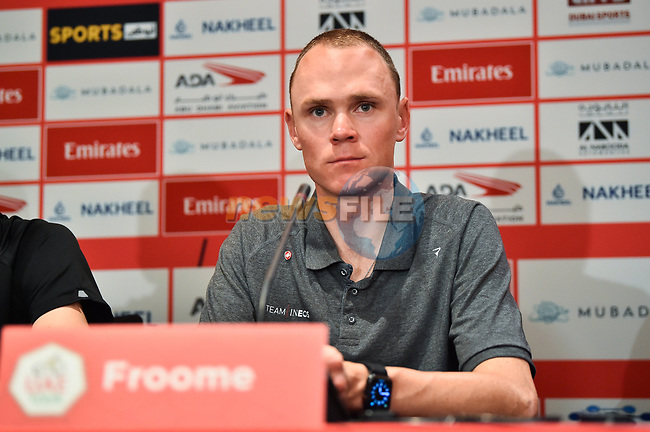 Chris Froome (GBR) Team Ineos at the Top Riders press conference for the UAE Tour 2020 held at<br /> Westin Dubai Mina Seyahi, Dubai. 22nd February 2020.<br /> Picture: LaPresse/Massimo Paolone | Cyclefile<br /> <br /> All photos usage must carry mandatory copyright credit (© Cyclefile | LaPresse/Massimo Paolone)