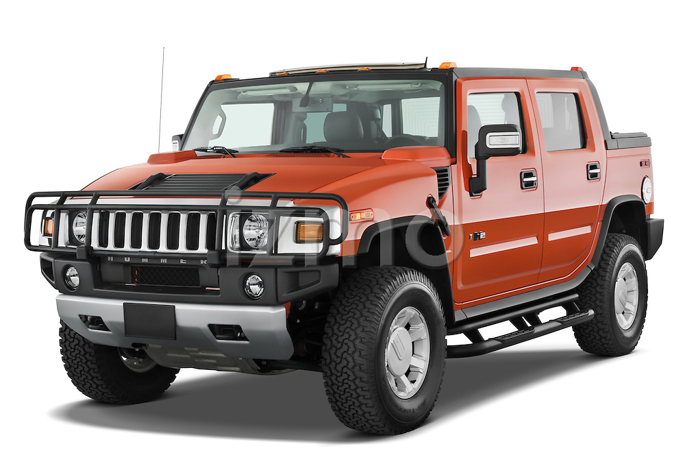 Front three quarter view of a 2008 Hummer H2 SUT.