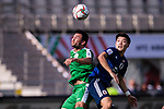 Ylyasov Vezirgeldi of Turkmenistan (L) competes for the ball with Doan Ritsu of Japan during the AFC Asian Cup UAE 2019 Group F match between Japan (JPN) and Turkmenistan (TKM) at Al Nahyan Stadium on 09 January 2019 in Abu Dhabi, United Arab Emirates. Photo by Marcio Rodrigo Machado / Power Sport Images