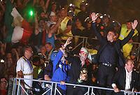 Roma, 10/07/2006 Festeggiamenti al Circo Massimo in seguito alla vittoria dell'Italia sulla Francia ai Campionati Mondiali di calcio. Con questa vittoria L'Italia si è aggiudicata la Coppa del Mondo. La squadra Italiana, atterrata a Pratica di Mare, si è recata in visita dal capo del Governo e poi,, su un pullman scoperto ha attraversato il centro di Roma fino a raggiungere il Circo Massimo dove li attendevano circa un milione di tifosi festanti. Nella foto Buffon, Cannavaro e Carlo Verdone.<br /> Photo Samantha Zucchi Insidefoto<br /> Celebrations at Circo Massimo in Rome for Italy's World Cup 2006 victory. The Italian players, a soon as they arrived in Rome, went to visit the Prime Minister and then on a bus reached the Circo Maximum where about 40.000 fans were waiting for them. Rome, July 09, 2006.