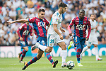 Marco Asensio of Real Madrid (R) fights for the ball with Roberto Suarez Pier, Rober, of Levante UD (L) during the La Liga match between Real Madrid and Levante UD at the Estadio Santiago Bernabeu on 09 September 2017 in Madrid, Spain. Photo by Diego Gonzalez / Power Sport Images