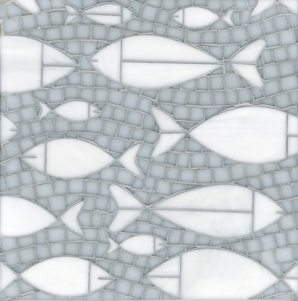 Floating Fish, a waterjet and hand cut glass mosaic shown in Opal and Moonstone, is part of the Erin Adams Collection for New Ravenna.
