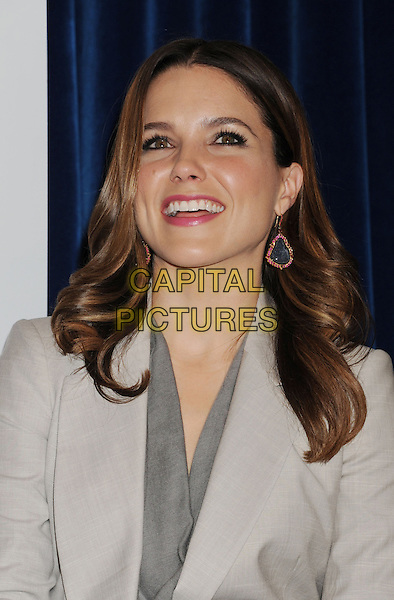 Sophia Bush.The People's Choice Awards 2013 Nomination Announcements at The Paley Center for Media in Beverly Hills, California, USA. .November 15th, 2012.headshot portrait grey gray jacket suit beige blazer top gold blue dangling smiling earrings .CAP/ROT/TM.©Tony Michaels/Roth Stock/Capital Pictures