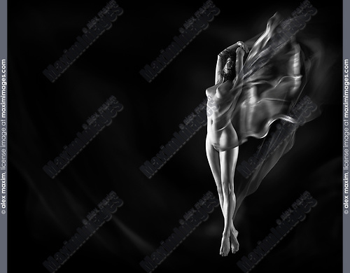 Finer art nude erotic photo of a beautiful naked woman with cloth flowing around her bare body on black background Black and white
