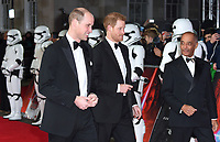 "Prince William and Prince Henry<br /> arriving for the ""Star Wars: The Last Jedi"" film premiere at the Royal Albert Hall, London.<br /> <br /> <br /> ©Ash Knotek  D3363  12/12/2017"