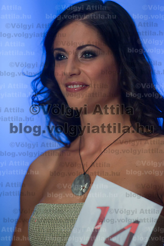 Contestant Lili Regos participates the Beauty Queen live TV show hosting the joint beauty contests Miss World Hungary, Miss Universe Hungary and Miss Earth Hungary, held in Hungary's tv2 television headquarter in Budapest, Hungary on July 14, 2011. ATTILA VOLGYI