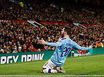 Bernardo Silva of Manchester City slides on his knees to celebrate scoring their first goal during the Carabao Cup match at Old Trafford, Manchester. Picture date: 7th January 2020. Picture credit should read: Darren Staples/Sportimage