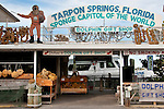 The Dolphin Gift Shop selling a variety of sea sponges in Tarpon Springs, Florida a town which has the highest percentage of Greek Americans in any US city and which is known for sea sponges