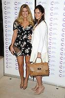 Cheska Hull and Francesca Newman-Young arriving at James' Jog On To Cancer Event, Kensington Roof Gardens, London. 09/04/2014 Picture by: Alexandra Glen / Featureflash