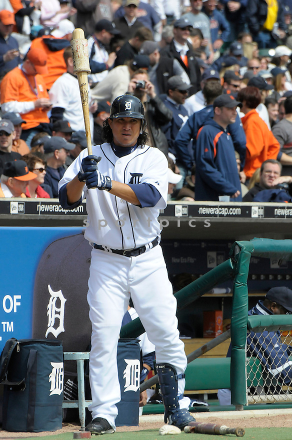 MAGGLIO ORDONEZ, of the Detroit Tigers  , in action  during the Tigers game against the Texas Rangers  on April 10, 2009 in Detroit, Michigan  The Tigers beat  the Rangers 15-2.