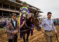 DEL MAR, CA - NOVEMBER 03: Rushing Fall #11, ridden by Javier Castellano in the winners circle after the Breeders' Cup Juvenile Fillies Turf at Del Mar Thoroughbred Club on November 03, 2017 in Del Mar, California. (Photo by Alex Evers/Eclipse Sportswire/Breeders Cup)