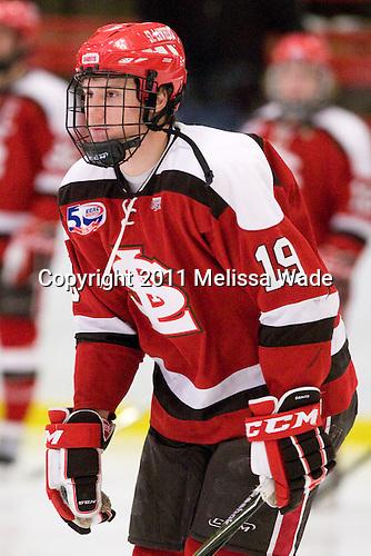 Jeremy Wick (St. Lawrence - 19) - The Harvard University Crimson defeated the St. Lawrence University Saints 4-3 on senior night Saturday, February 26, 2011, at Bright Hockey Center in Cambridge, Massachusetts.