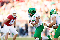 STANFORD, CA - SEPTEMBER 21: CJ Verdell #7 of the Oregon Ducks runs with the ball during a game between University of Oregon and Stanford Football at Stanford Stadium on September 21, 2019 in Stanford, California.