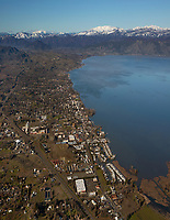 aerial photograph of Lakeport, Lake County, California and the northern portion of Clear Lake.  The mountains in the Snow Mountain wilderness are in the background.