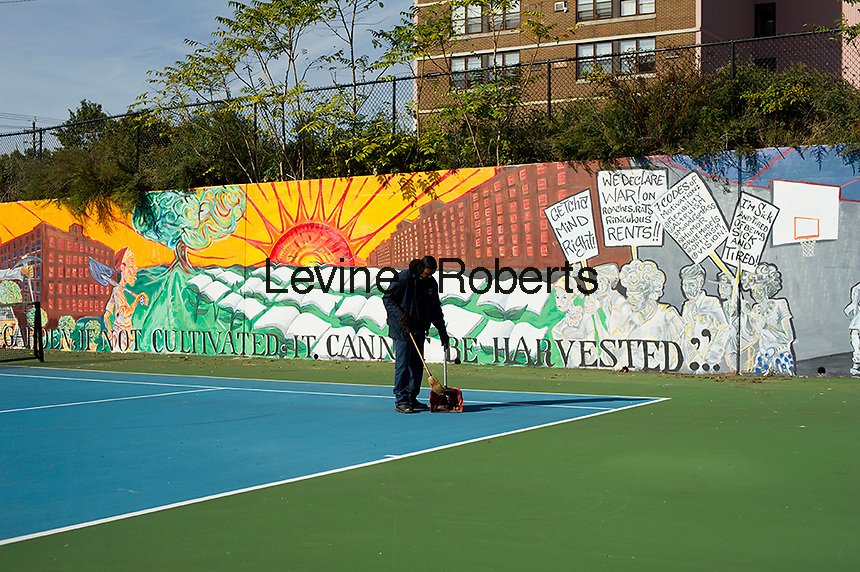 New mural at the tennis courts.  Jesse Allen Park Phase II Opening Celebration, Newark, NJ on Wednesday, October 17, 2012.  (© Frances M. Roberts)